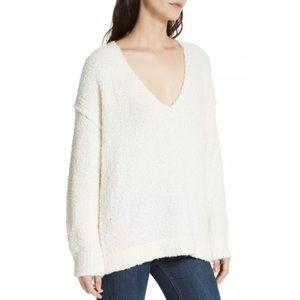 Free People Ivory Lofty V-Neck Sweater Size M